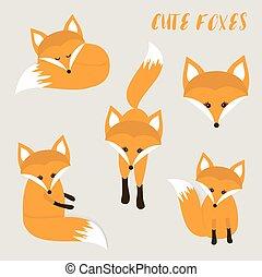carino, set, cartone animato, volpi