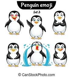 carino, set, characters., 3, vettore, pinguino