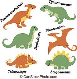 carino, set, dinosauri, isolato, fondo., bianco, cartone animato