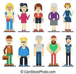 carino, set, divertente, persone., characters., vettore, cartone animato