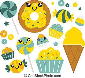 carino, set, dolce, -, caramella, menta, cartone animato,...