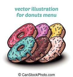 carino, set, donuts, colorito, dolce