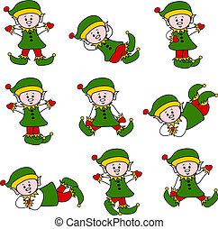 carino, set, elfo, natale