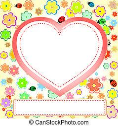 carino, set, fiore, cuore, coccinella, scarto, spazio, vuoto