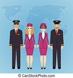 carino, set, gruppo, caratteri, staff., persone, illustrazione, aria, aereo, vettore, appartamento, linea aerea, professioni, aviazione, pilota, capitano, cartone animato, uniform.