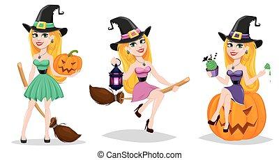 carino, set, halloween, carattere, holiday., cartone animato