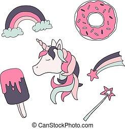 carino, set, isolato, fondo., vettore, unicorno, animal., bianco, bambini
