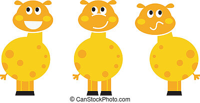 carino, set, isolato, giraffa, vario, selvatico, bianco, pose