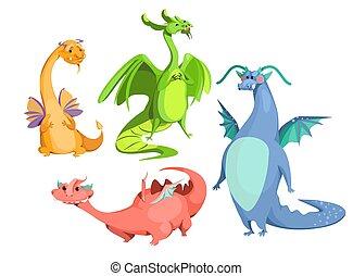 carino, set, magia, colorito, draghi, vettore, cartone animato