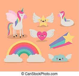 carino, set, stella, colore cuore, fantasia, elementi, fondo, unicorno, arcobaleno, ali, nuvola