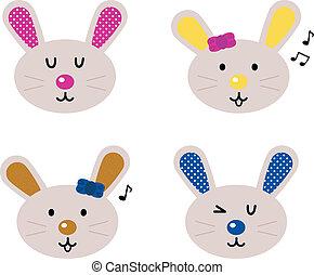 carino, set, teste, isolato, bianco, coniglietto