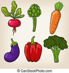 carino, set, verdura, sei, mano, vettore, disegnato