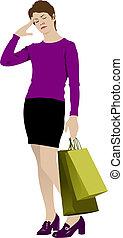 carino, shopping, colorato, illustrazione, vettore, bags., signora