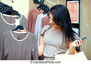 carino, shopping donna, in, vendita dettaglio