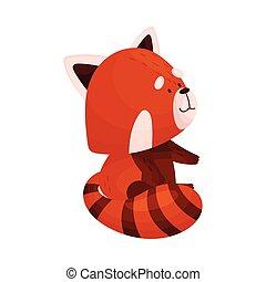 carino, sideward, rosso, cartone animato, standing, panda, dall'aspetto, vettore, illustrazione