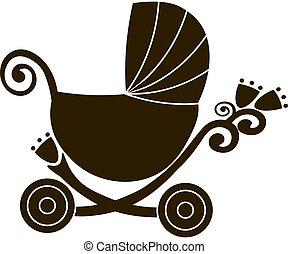 carino, silhouette, appartamento, vendemmia, carrello, vendita, vettore, linea, icon., passeggino bimbo, negozio, logotipo