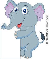 carino, silicio, vuoto, cartone animato, elefante
