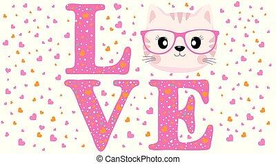 carino, slogan, glasses., gatto, amore, faccia