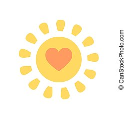carino, sole, con, cuore