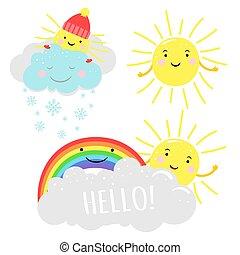 carino, soleggiato, vettore, illustrazione, con, cartone animato, sole, nubi, e, arcobaleno