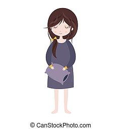 carino, sonnolento, carattere, pajamas., pillow., ragazza, cartone animato