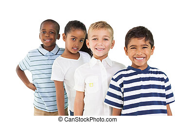 carino, sorridente, macchina fotografica, bambini