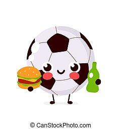 carino, sorridente, palla football, felice