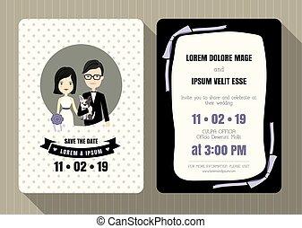 carino, sposo, invito, sposa, matrimonio, cartone animato, scheda