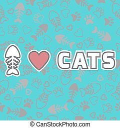 carino, stampe, amore, card., zampa, gatto, gatti, fondo, cuori