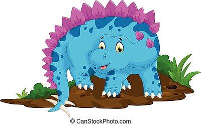 carino, stegosaurus, proposta, cartone animato