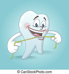 carino, stile, concetto, dente, filo seta, fondo, cartone animato
