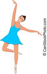 carino, stile, exercise., appartamento, ballerina, giovane, illustrazione, movimento, fondo., vettore, sorridente, bianco