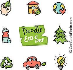 carino, stile, icone, eco, scarabocchiare, set., collezione, mano, ecologico, vettore, disegnato