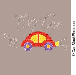 carino, stile, illustration., patchwork, auto, ingenuo, vettore, automobile, cartone animato, rosso, capretto
