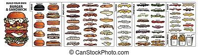 carino, stile, proprio, colorito, sandwich., ingredienti, contorno, isolato, mano, hamburger, set, nero, fondo., disegnato, bianco, tuo, costruire