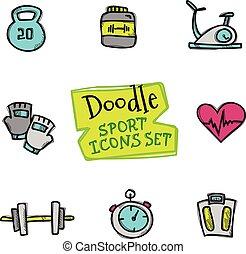 carino, stile, vettore, icone, scarabocchiare, set., collezione, sport, oggetti, mano, disegnato, linea, sport