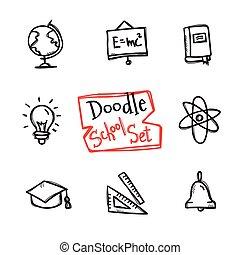 carino, stile, vettore, scarabocchiare, set., scuola, collezione, mano, oggetti, disegnato, educazione