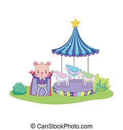 carino, strato, circo, carosello, orso