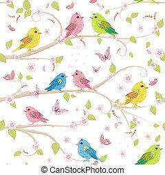 carino, struttura, seamless, ramo, uccelli