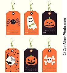 carino, tags., set, illustration., halloween, mano, vettore, disegnato