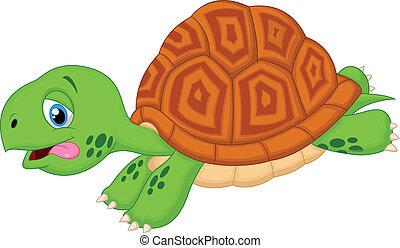 carino, tartaruga, cartone animato, correndo