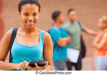 carino, tavoletta, computer, studente università, africano, usando