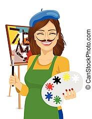 carino, tavolozza, colorito, artista, divertente, femmina, pittura, baffi