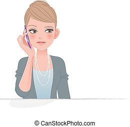 carino, telefono, accigliato, donna