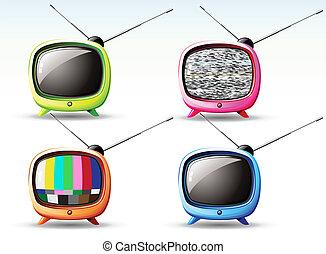 carino, televisione, retro