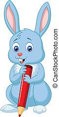 carino, tenendo penna, coniglio, cartone animato, rosso