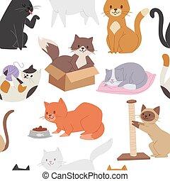 carino, tessuto, scatola, in pausa, modello, infantile, carattere, seamless, tessile, kitty., marrone, gioco, illustrazione, cartone animato, grande, lavaggio, kittens., siamese, tabby, cat., gatto, vettore, gatti