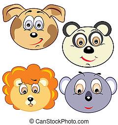 carino, testa, cartone animato, icone animali
