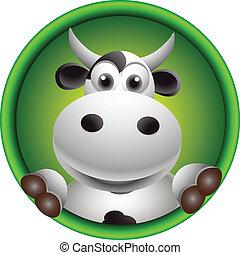 carino, testa, cartone animato, mucca