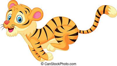 carino, tiger, cartone animato, correndo